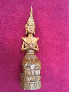 Vintage Hindu women God Kartikeya Murugan Statue Wooden Sculpture Carved yoga