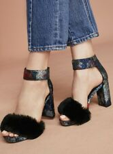 NIB Anthropologie Jeffrey Campbell blue black Platform Brocade Fur Heel Sandal 8