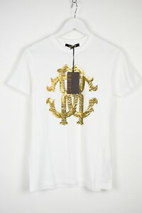 RRP €290 ROBERTO CAVALLI Men XXL White Gold Logo Print Crewneck T-Shirt 13085_