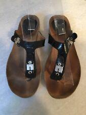 Dr. Scholl's Black Patent Leather Flip Flop Women's Size 39 9