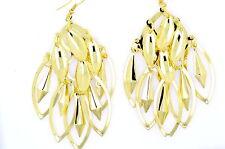 New Boho gold tone leaf chandelier dangle earrings