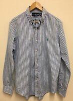 "Super Cool 100% Genuine Ralph Lauren Custom Fit Striped Long Sleeve Shirt 16"" L"