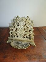 Vintage Ornate Brass Letter Stand Stationary Trinket Tray Front Victorian Form