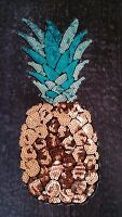 XXL Patch Ananas mit Pailletten Bügelbild Flicken DIY Obst Frucht exotisch neu