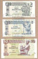 Andorra 2 5 10 Pesetas Pessetes 2015 UNC SPECIMEN Test Note Banknote Set - 3 pcs
