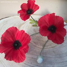 1 Red Artificial Field Meadow Poppy,1 stem, 3 Silk Poppy Heads ,1 bud.