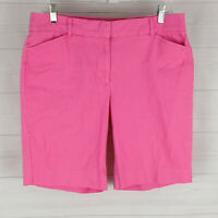 Studio Works petite womens 12P stretch solid pink flat front chino shorts