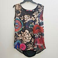 Desigual Womens Tank Top Sz Large Colorful Lace Knit Woven Multi-color Floral