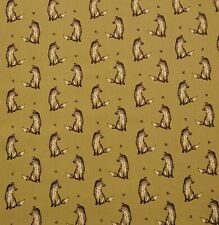 Felix Fox - Yellow 100% Cotton Novelty Print Dress Craft Fabric 140 cm wide.