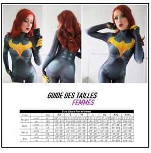 Déguisement super héros Batgirl femme combinaison sexy en spandex