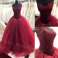 Burgundy Ball Gown Prom Quinceanera Dress Off Shoulder Sweet Party Pageant Dress