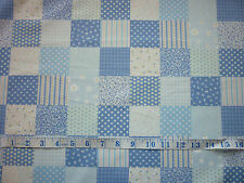 CLEARANCE YARD  BLUE FLOWERS PATCHWORK SQUARES DESIGN FABRIC SHABBY CHIC