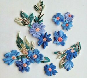 Blue Flowers 6 Pieces Set Extra Quality Sew-On Embroidered Patch Applique