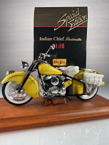 Maisto 1940-50's Indian Chief Roadmaster Motorcycle Yellow Cruiser 1:10 Diecast