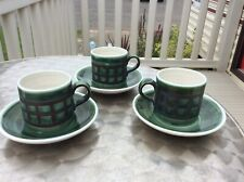Iden Pottery Rye Green coffee Cup & Saucer x 3
