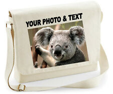 PERSONALISED LAPTOP MESSENGER BAG PHOTO TEXT FUNNY RUDE WORK SCHOOL