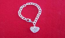 Solid 925 Silver Heart Charm Bracelet (B06)