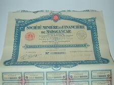 ACTION TITRE Socièté minière financière Madagascar à Tananarive 1929