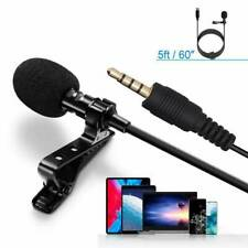 Mini Mic Clip-on Lapel Lavalier Microphone 3.5mm For Mobile Phone PC Recording