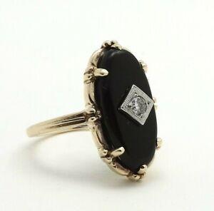 Retro Deco 10K Gold Oval Black Onyx Diamond Navette Ring 4gr
