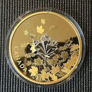 """Canada 2017 $50 """"Whispering Maple Leaves"""" 3 oz  Silver Proof Gold-Plated Coin."""