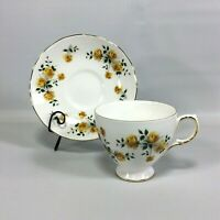 Yellow Roses Tea Cup and Saucer Set Made in England Royal Vale Bone China