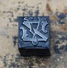 VZ  ZV Monogramm Bleisatz Druckstock Klischee Stempel Buchstabe Initiale Vintage