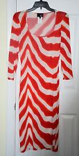JUST Cavalli red zebra print Roberto signature stretch midi dress 44 US 8 Italy