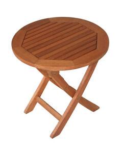 Beistelltisch Klapptisch Kaffeetisch Gartenmöbel Tisch SAIGON 48cm rund Holz
