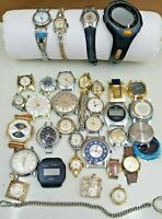 Lot of 34 Vintage and Modern Watches Pocket Watches Parts For Repair or Crafts