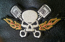 SKULL PISTOLS FLAMES EMBROIDERED IRON ON  MC BIKER PATCH