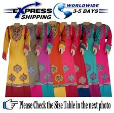 Islamic Egypt Cotton Abaya Embroidery Jilbab Dress Kaftan Muslim Galabya Hijab