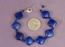 14x14mm&6mm Rhombus Bracelet 7.5''Aa+ Gemstone Natural Lapis Lazuli Square