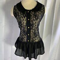 Punk Rave Black Lace Romantic Top Gothic Steampunk Cosplay Mauve Brand Medium