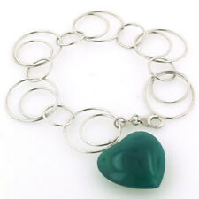 Sterling Silver Links Bracelet With Green Agate Heart
