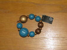 BRACELET, WOODEN BEADS, ON AN ELASTIC BAND, NEW WITH TAG
