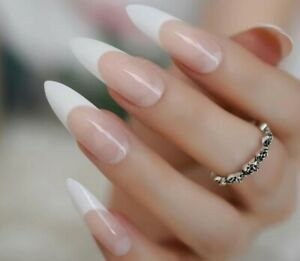 Long Pointed Stilleto coffin White French Manicure False Fake Press On Nails