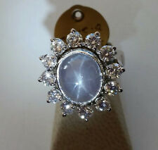 NEW Platinum Genuine Star Sapphire Diamond Ring 13.40 cts Size 6 Retail $11,500