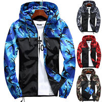 Men Military Camo Windbreaker Hoodie Hooded Sweatshirt Zip Jacket Coat Outwear