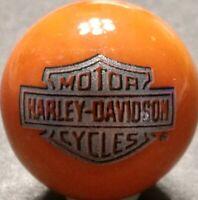 "Rare ® Harley Davidson Silver Bar & Shield On Orange 1"" Marbleized Marble New"