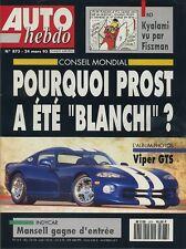 AUTO HEBDO n°873 du 24 Mars 1993 LANCIA DELTA HF VIPER GTS CORSA GSI 16V