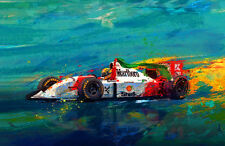 Auto Racing Car Art AYRTON SENNA 1993 MP4/8 McLaren Formula 1 F1 Limited edition