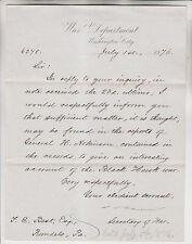 1876 JAMES D CAMERON SIGNED LETTER AS SECRETARY OF WAR - BLACK HAWK WAR