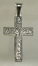 LOOK Jesus Christ Rose cross Genuine Sterling silver charm pendant Christian Jew