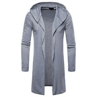 Fashion Mens Hooded Trench Coat Jacket Jumper Cardigan Long Sleeve Outwear 2019