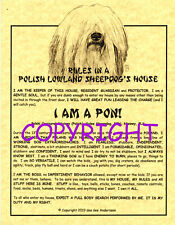 Rules In A Polish Lowland Sheepdog's House