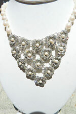 CAROLEE Necklace Freshwater WEDDING Knotted Pearls & Crystal Adjustable $110 NWT