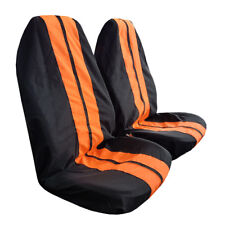 2pcs Black Orange GT Racing Style Throw Over Slip On Car Seat Covers For Toyota