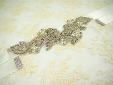 Crystal Bridal Belt Wedding Sash Rhinestone Wedding Accessory Any Colour Ribbon