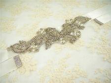 Crystal Bridal Belt Wedding Sash Rhinestone Wedding Accessory Any Colour Ribbon